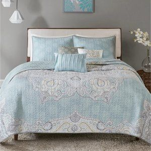 NEW 6 Piece Reversible Cotton Sateen Coverlet Set